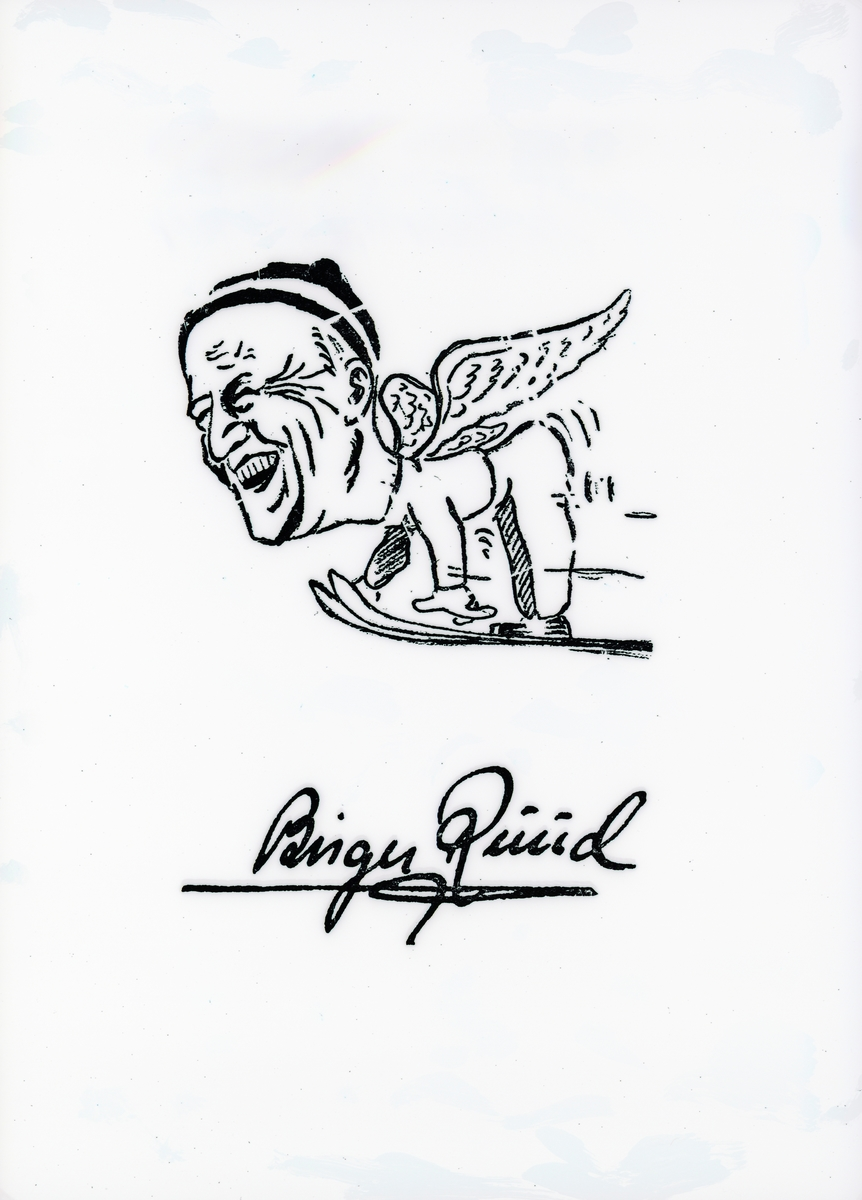 Signed drawing of Birger Ruud