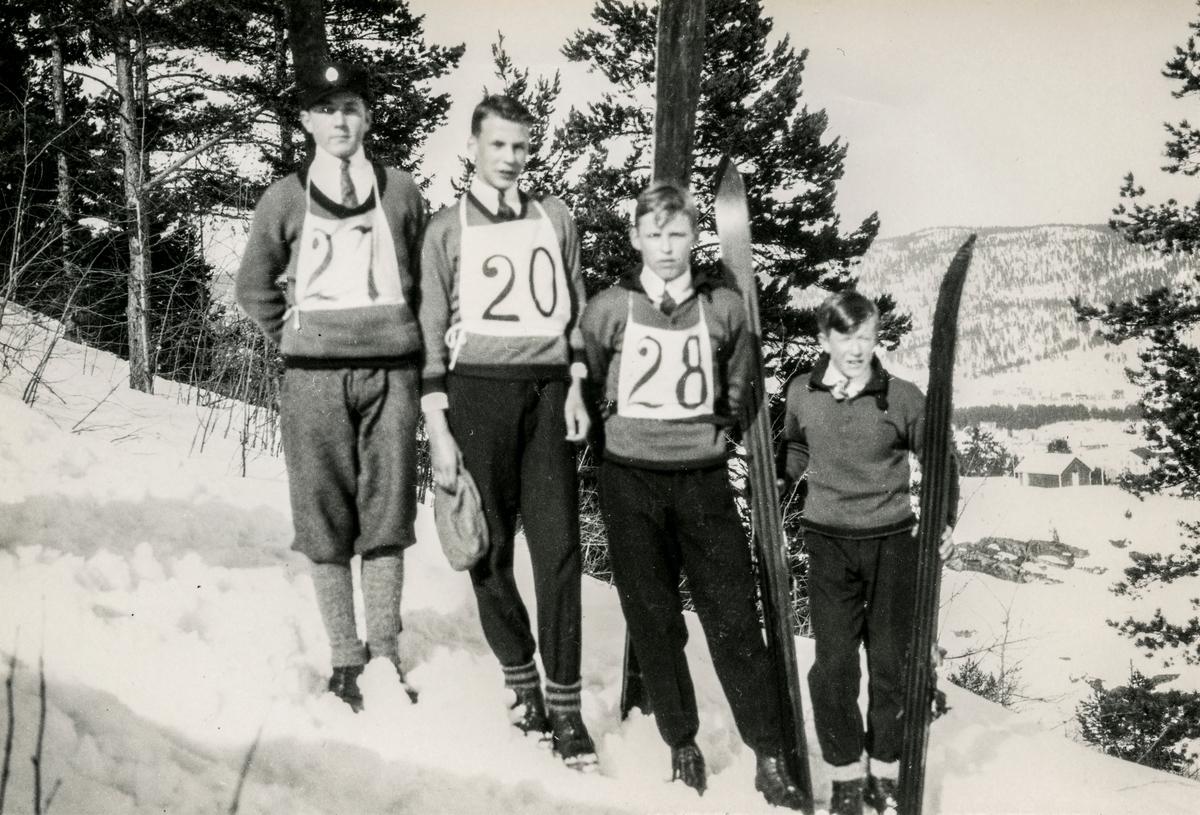 Four Kongsberg skiers at Storåsbakken