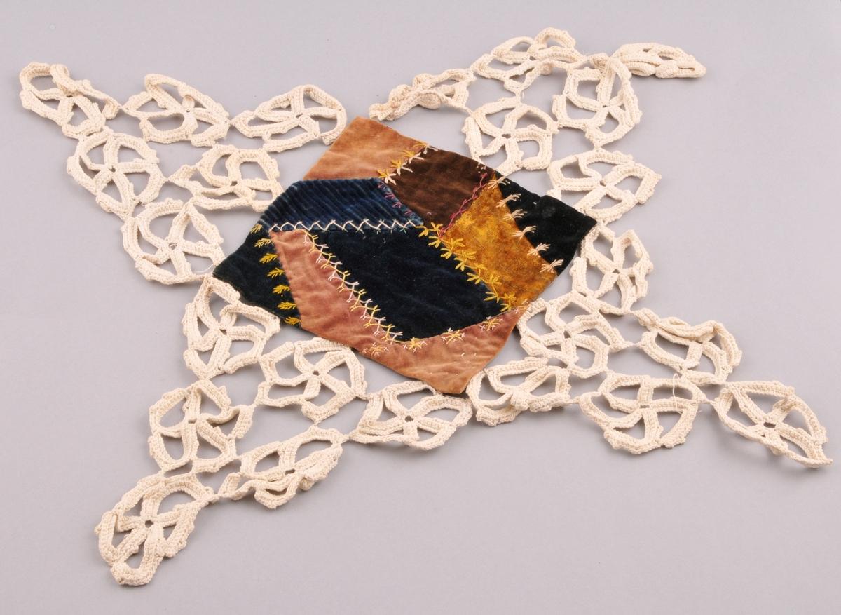 Kvadratisk tekstil sett saman av ni ulike lappar av fløyel, brodert med ulike bordar. Bakstykke av beige stoff. Tekstilen er falda kring kanten med faldesting. Kring kanten er det festa fire hekla trekantar, som kvar er sett saman av seks sirkelar. Til saman dannar dette ein form for blondekant.