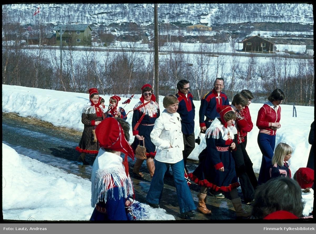 17.mai 1978 i Polmak. Kristine Rajala, Turid Jernsletten, Johan Jernsletten, Andreas Njarga.