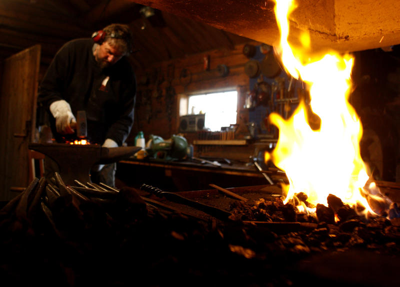 All iron fittings and hooks are hand-forged at the boatyard.