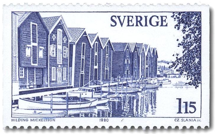Sundskanalen och gamla fiskebodar, Hudiksvall.