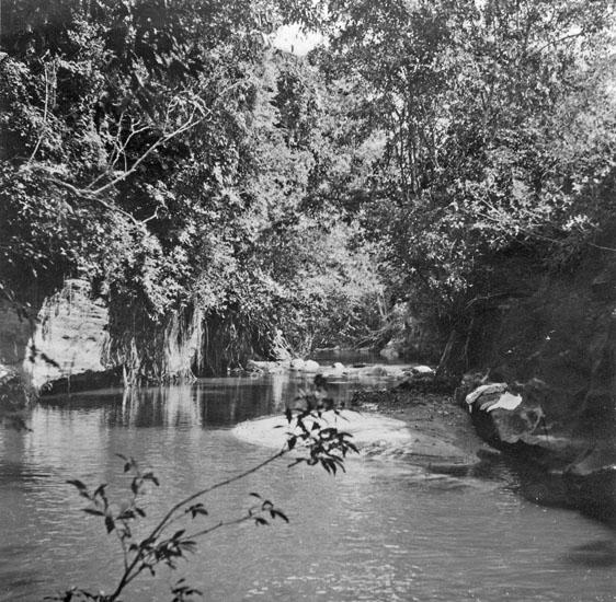 Julbadet, sett nedåt floden. Honda, julafton 1934