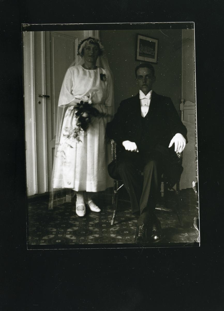 Bryllupsfoto av Ola og Jørgine (f. Smemoen) Bondli.