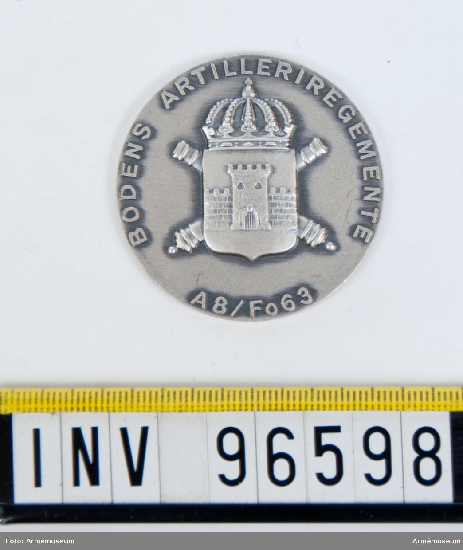 Medalj i silver för Bodens artilleriregemente.