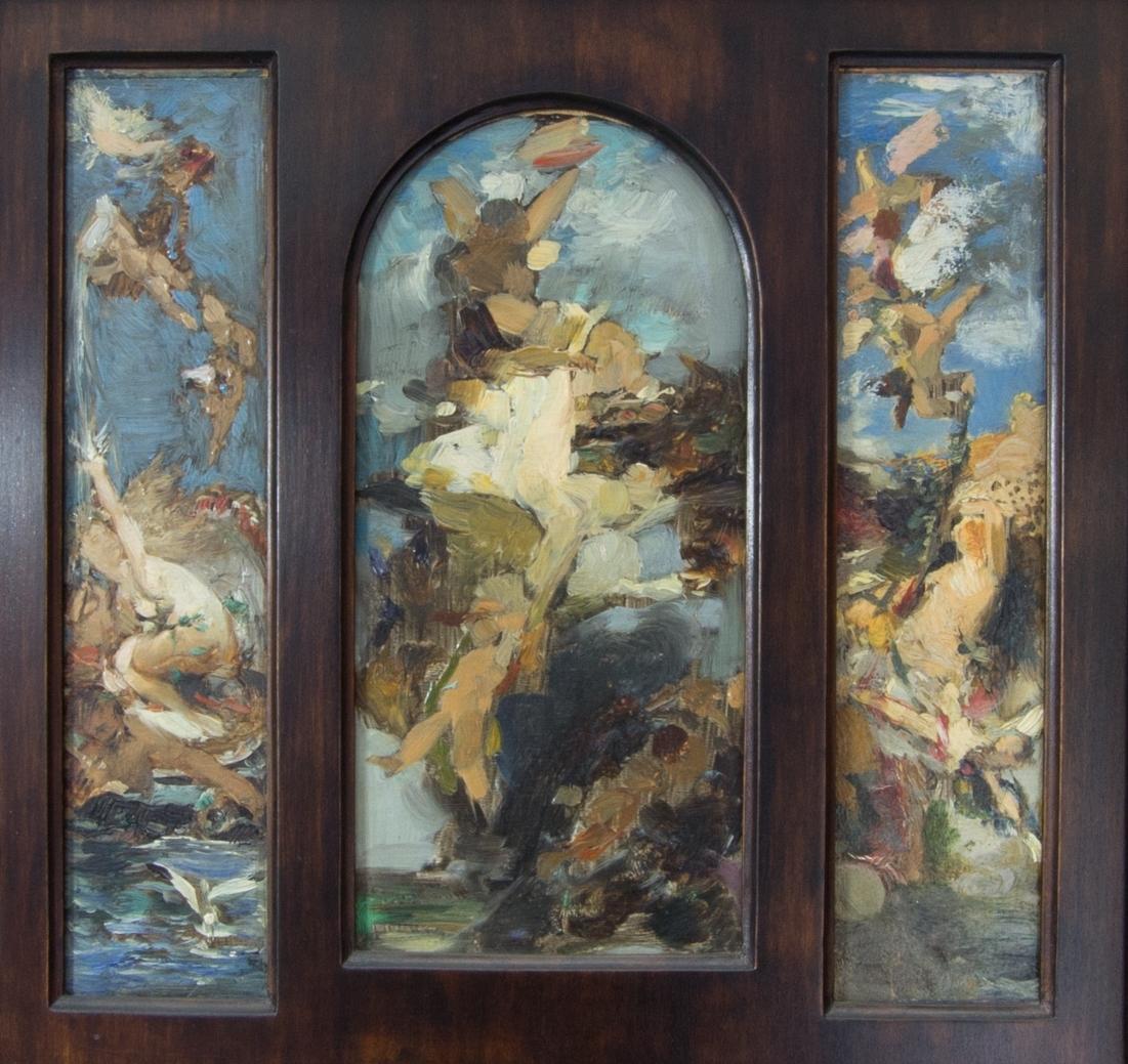 Våren (i mitten), sommaren (till vänster)  och hösten (till höger) i skissartat utförande utförd som triptyk.