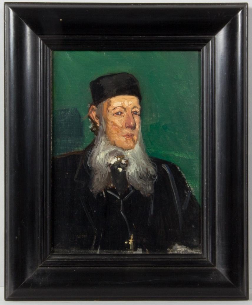 Porträttskiss föreställande Oskar Ekman. Bröstbild en face. Svart kostym med väst och svart kalott. Långt vitt skägg. Grön enfärgad bakgrund.