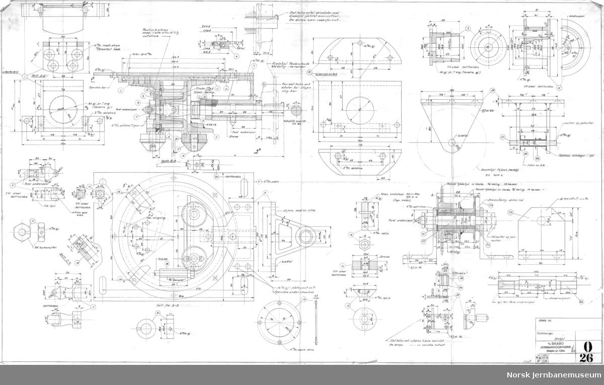 Enskinnevogn  O027 Hovedtegning O026 Drivhjul O028 Strømavtaker O029 Bremseapparat