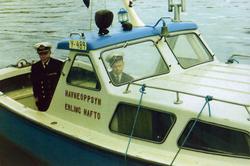 Honningsvåg. Havnefogd Erling Hafto. Havnebåten ble døpt av