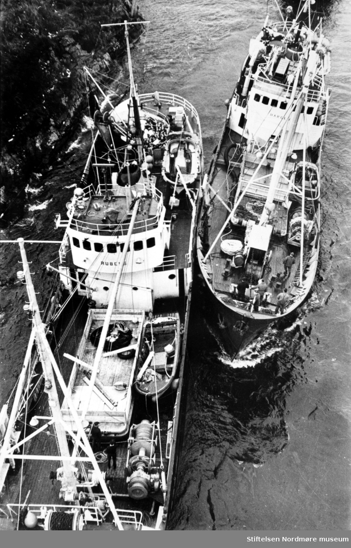 Sildeflåten på vei ut Nordsundet, her representert med to fiskefartøy. Navnene på disse fartøyene er Rubens og Hargun opplyser  Bertil Farstad. - Fotograf og giver er Kjell Sandum i Adresseavisen. Fra Nordmøre Museums fotosamlinger.