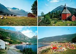 """Postkort """"M-4793-0"""" med fire motiv fra Sunndal kommune. Moti"""