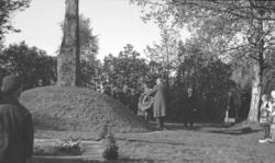 Foto av en kransnedlägggning på G.O. Hyltén-Cavallius grav.