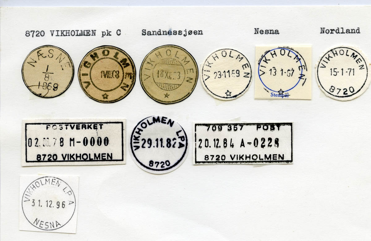 Stempelkatalog  8720 Vikholmen, Nesna kommune, Nordland (Næsne 1869)
