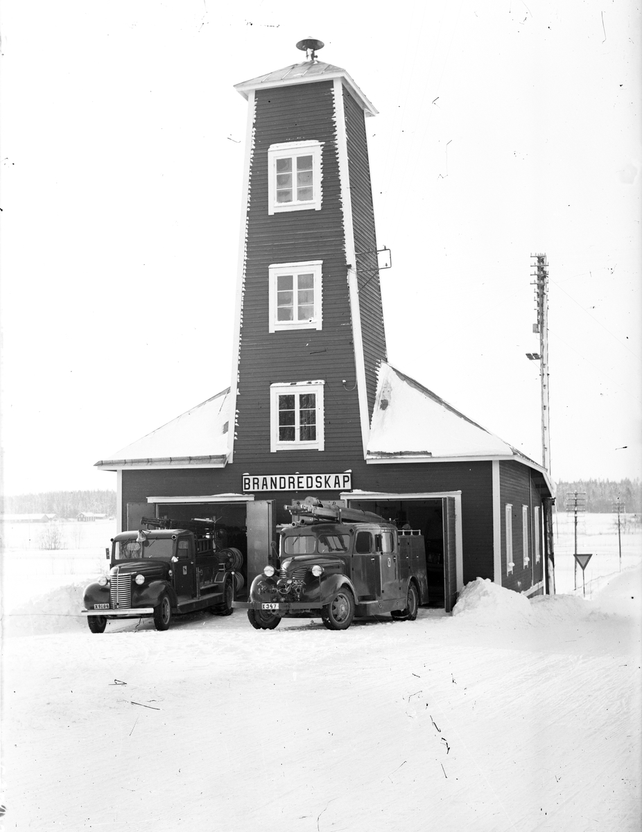 Brandstationen i Berg, Hamrånge. Foto 1940-50-tal.