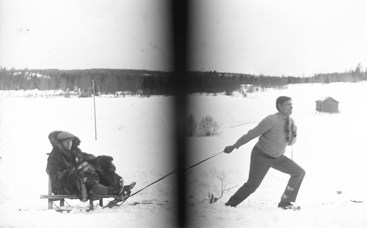 Josef Eriksson drar okänd man på kälken