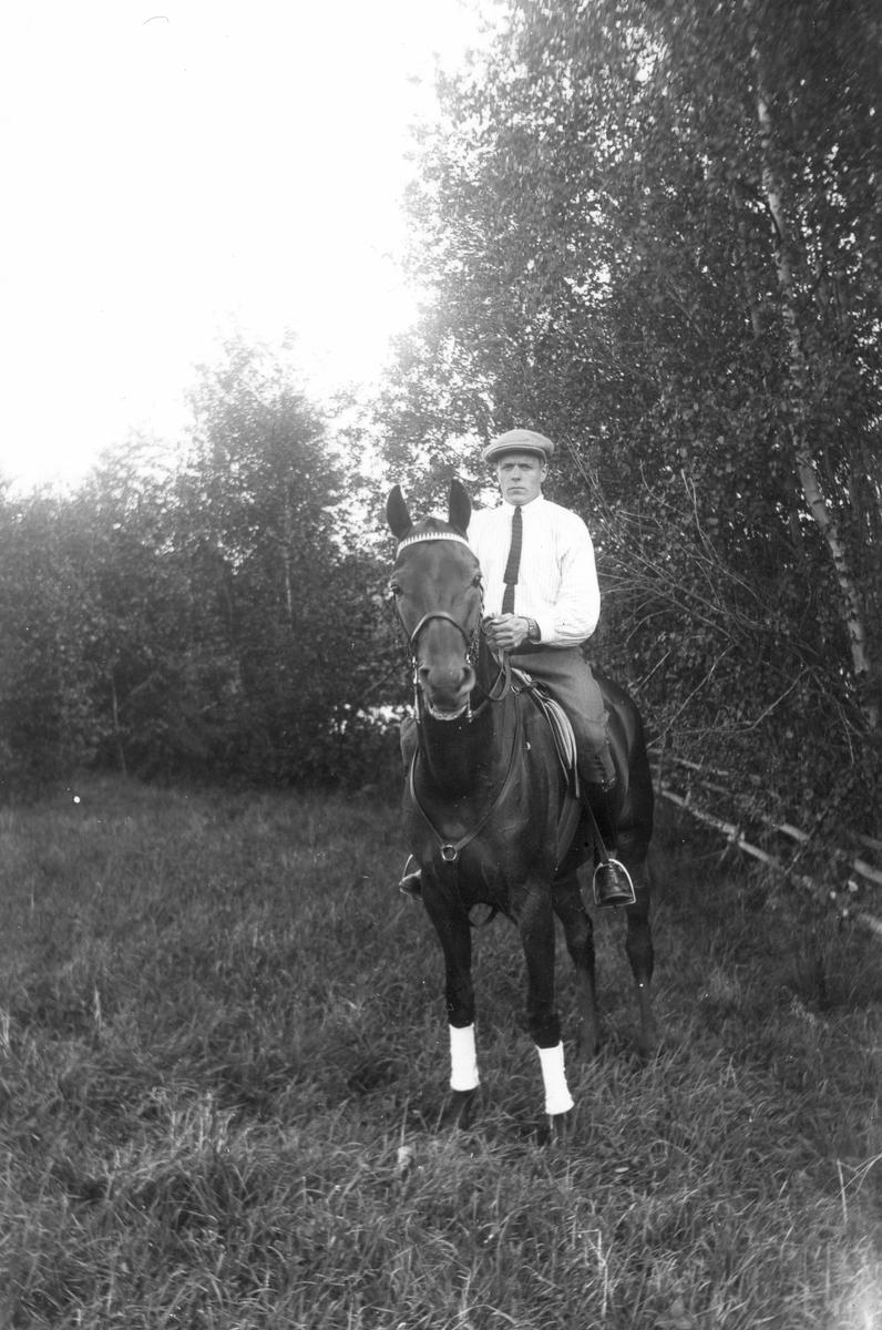 """En """"ryttmästare"""" till häst på Lenninge herrgård."""