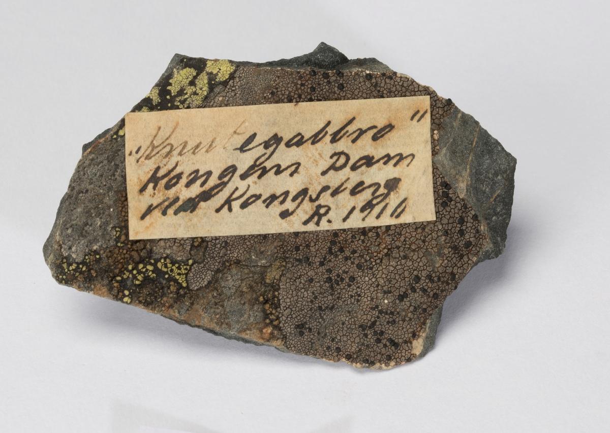 Etikett på prøve: «Knutegabbro» Kongens Dam ved Kongsberg R. 1910
