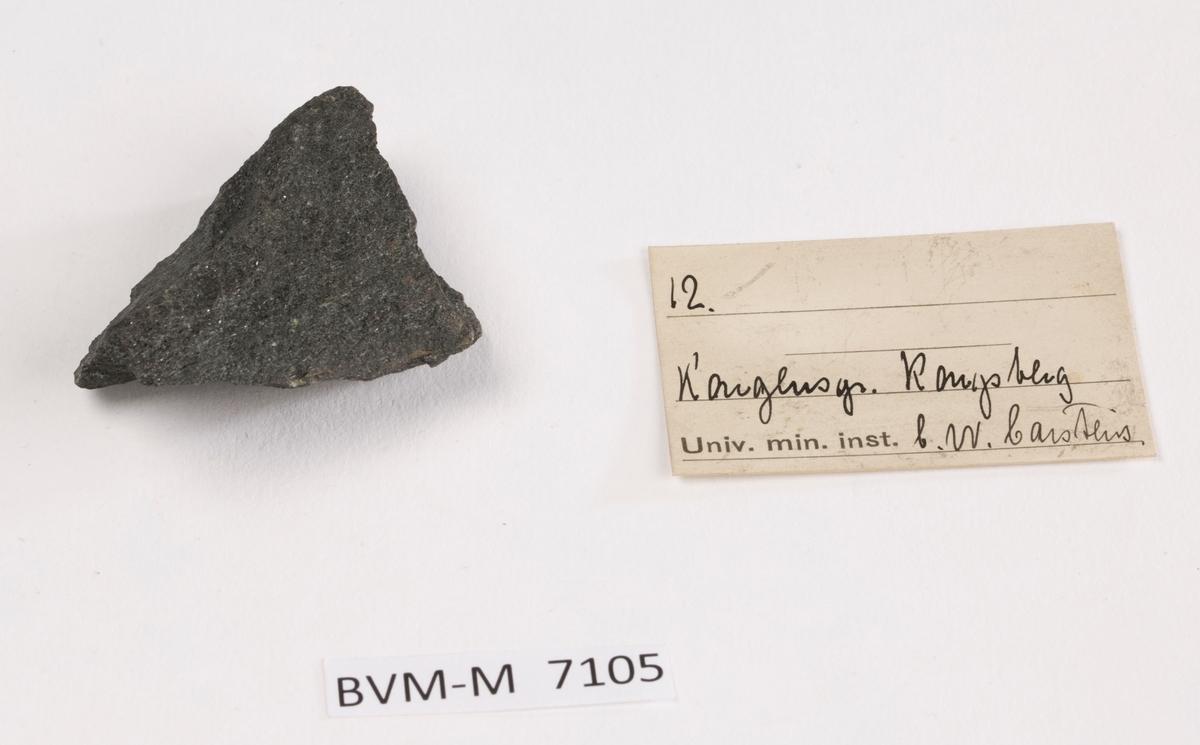 Etikett i eske: 12.  Kongens gr. Kongsberg C.W. Carstens
