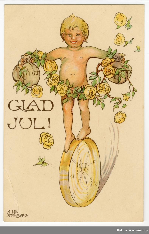 En naken pojke balanserar på ett hjul. Han håller en påse med pengar i varje hand. Framför honom hänger en girland av gula rosor och gröna blad.