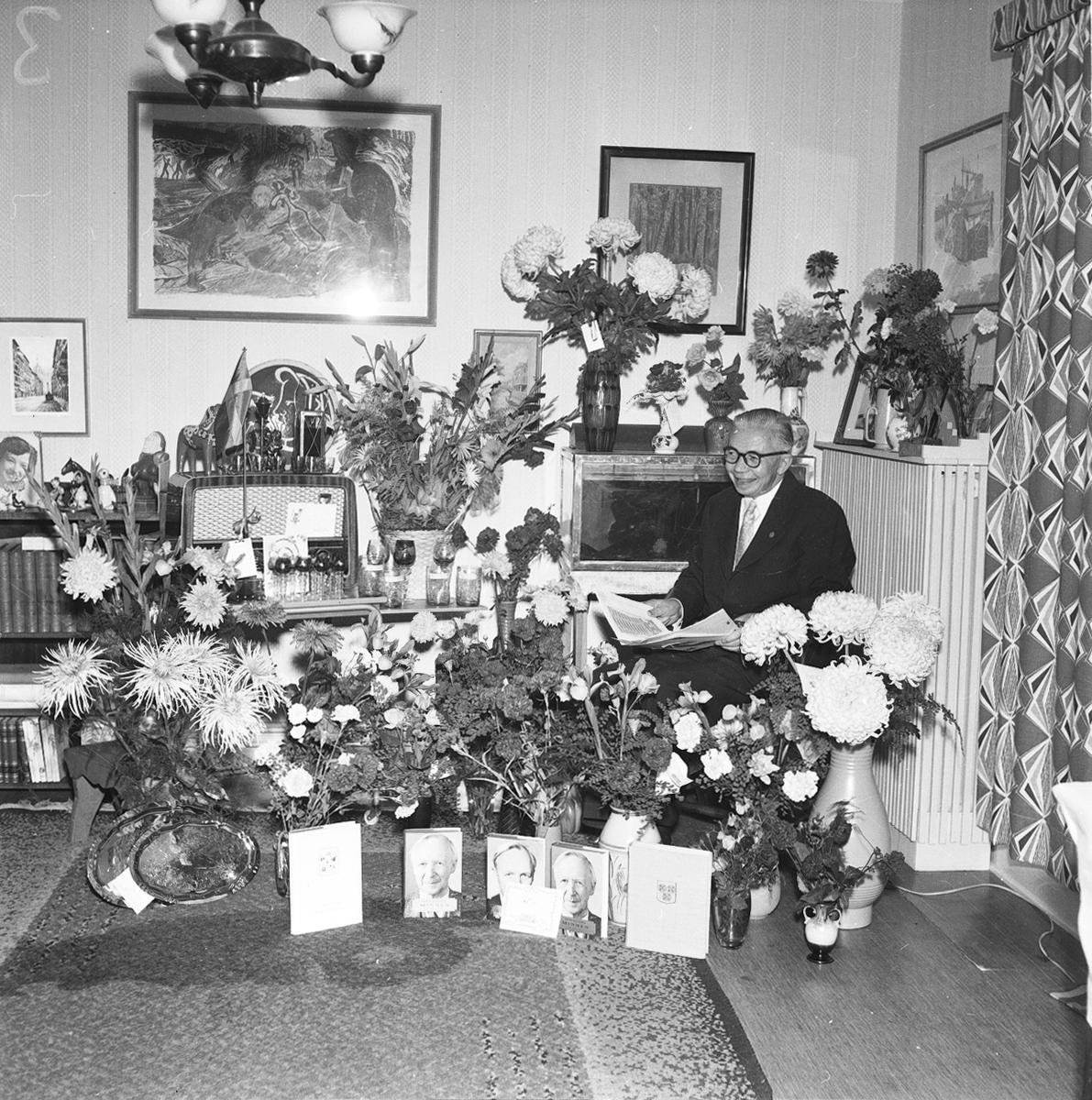 Revisorn Evald Larssons 60 årsdagen. 2 oktober 1956. c/o Carl Larsson.