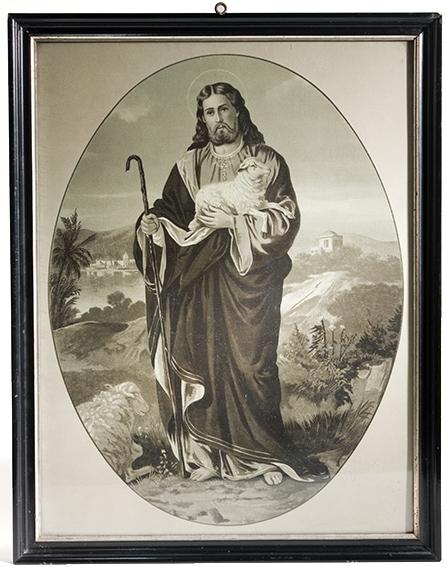 Jesusbilde i oval passepartout. Sort, firkantet ramme