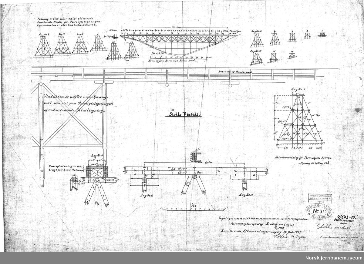 T.S.Jne. Størenbanen Stokke Viadukt. Tegning af Pillar No. 1-4.