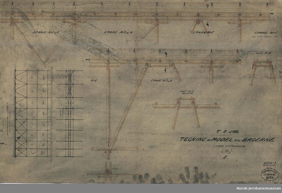 T.S.Jne. Størenbanen Tegning av Model til Broerne