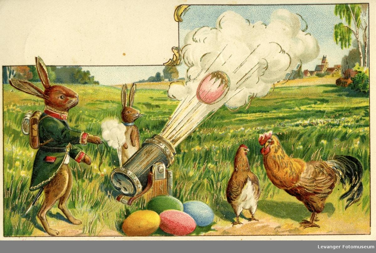 Postkort  med påskemotiv, med påskehare og fargeglade egg,