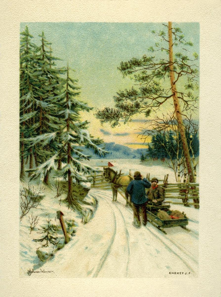 Postkort. Julehilsen trykket på baksiden. To menn med hest og slede på en skogsvei. Snødekt landskap i bakgrunnen. Illustrasjon av Hjalmar Johansen (?).
