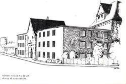 Postkort. Påbygging av museets kontorfløy. Bruksbygninger, N