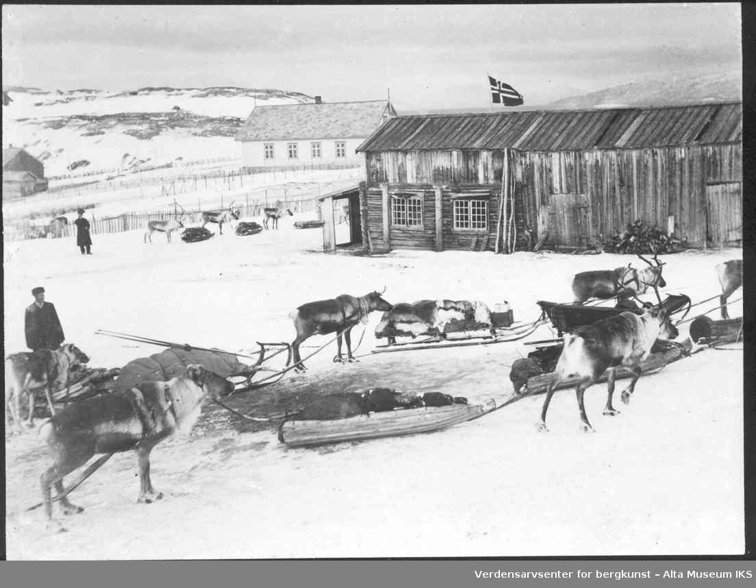 Bossekopmarkedet, reinsdyr, pulker, bygninger, personer