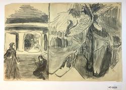 Kvinne og mann i sperrestove/ Død i fjellet [Tegning]