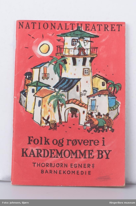 Illustrasjon av Tobias i tårnet og røverne på forsiden, reklame for spisestedet Frascati  baksiden.