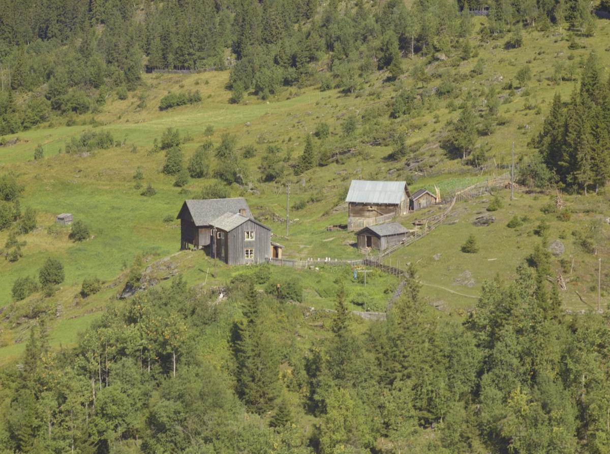 Kronberget. Værbitte hus, toetasjes våningshus, driftbygning og to uthus. Melkespann til tørk på skigardstolpene, inngjerdet grønsakshage, beitemark rundt og bar-/og løvskog i utkanten.