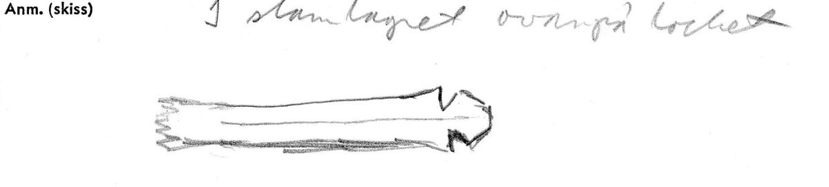 En träsked, bruten i sex delar. Delarna består av skedens skaft samt fem delar av skedbladet. Skaftet är smalt och rakt, med en utsnidad ändknopp. Skedbladet har ursprungligen sannolikt varit ovalt till formen. Skeddelarna är mycket ömtåliga. Mindre sprickor är synliga.