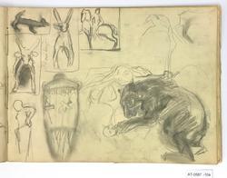 7 skisser av bjørn og barn, urne, hare, rytter, kvinne mm [T