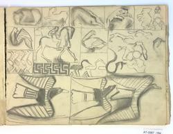 Stiliserte skisser av dyr og folk [Tegning]