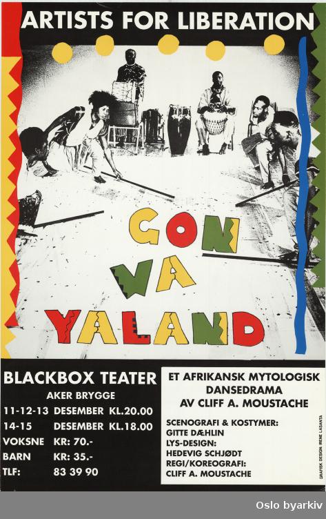 Plakat for forestillingen Gonwayaland...Oslo byarkiv har ikke rettigheter til denne plakaten. Ved bruk/bestilling ta kontakt med Nordic Black Theatre (post@nordicblacktheatre.no)