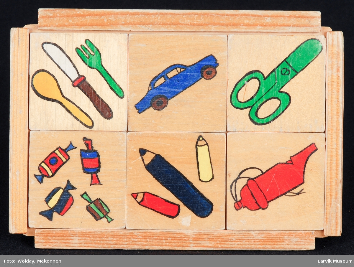 bestikk, bil, saks,sukkertøy, farger, fløyte