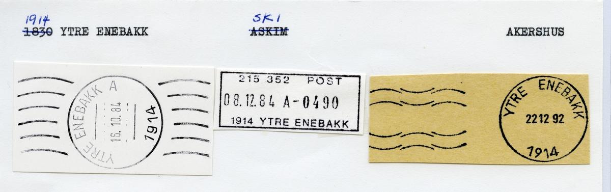 Stempelkatalog  1914 Ytre Enebakk, Ski kommune, Akershus