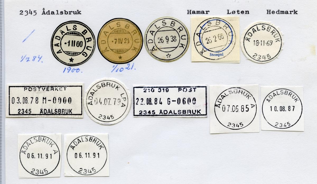 2345 Ådalsbruk (Aadalsbrug), Hamar, Løten, Hedmark