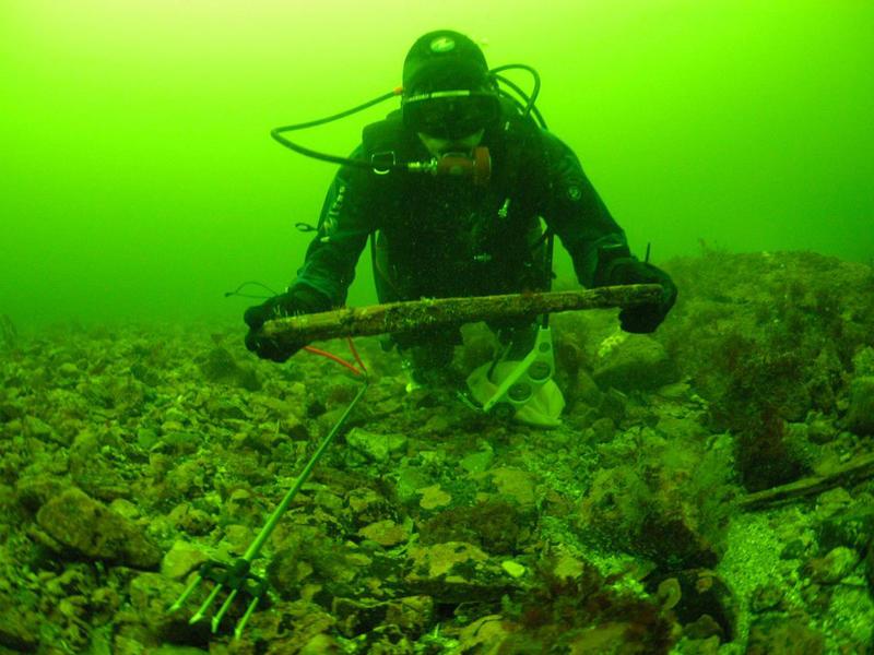 Dykker på sjøbunn i grønt vann med bryne i hendene.