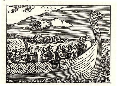 Illustrasjon fra Snorres Norgeshistorie (Soga om Olav den hellige)