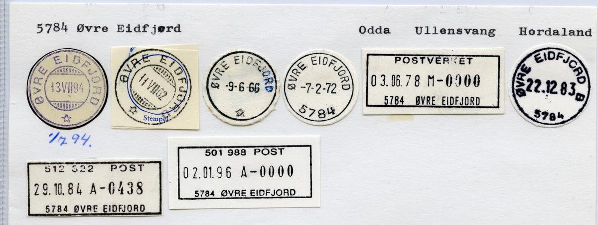 Stempelkatalog  5784 Øvre Eidfjord, Ullensvang kommune, Hordaland