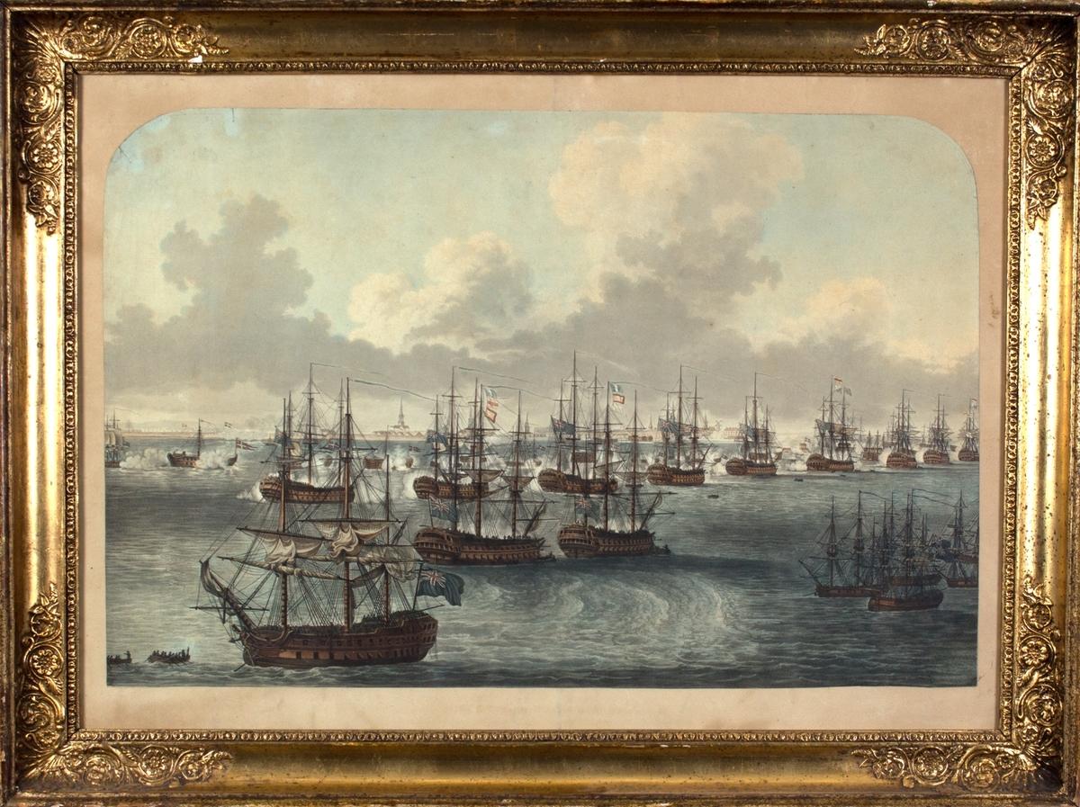 Engelske krigsskip angriper den danske flåten. I bakgrunnen sees dansk storby (København). Motivet viser enten angrepet på Københavns red i 1801 eller angrepet på København i 1807.