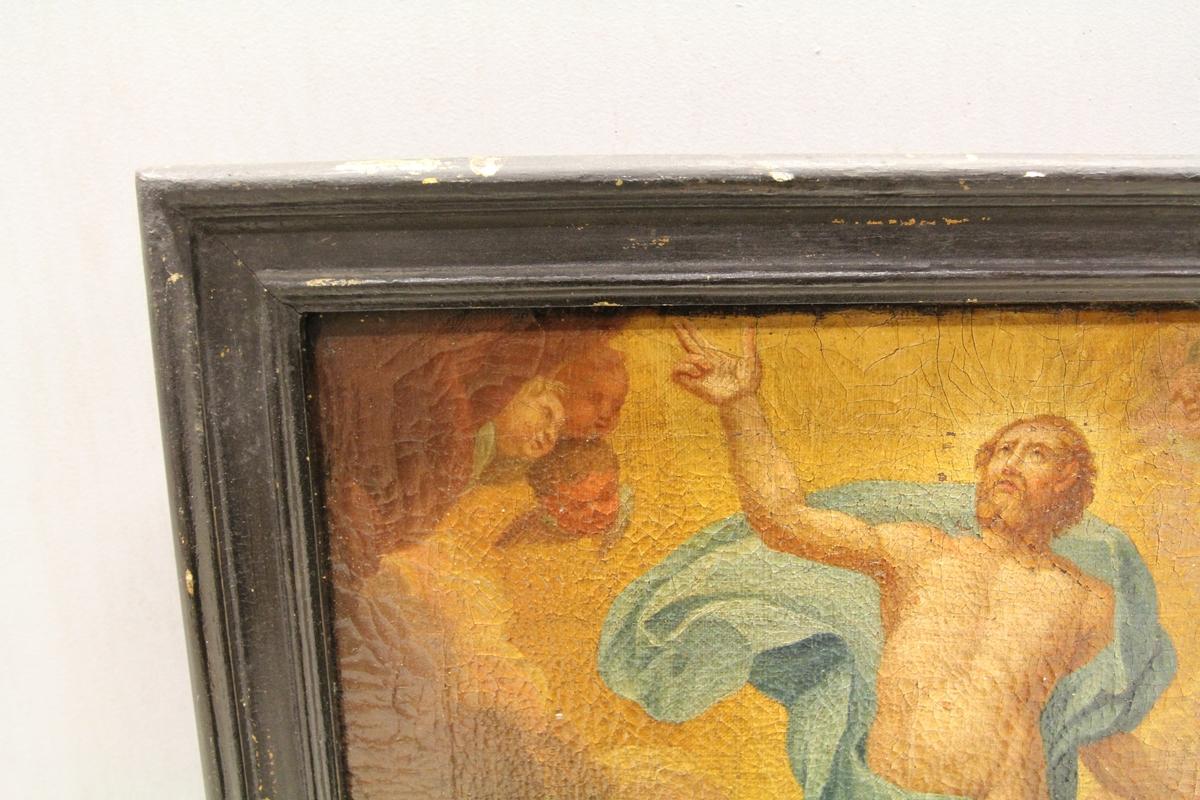Kristus oppstandelse bevitnet av 5 soldater omkring graven.