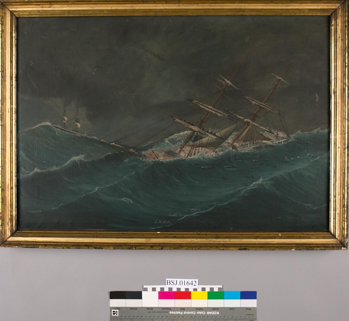 Briggen EMMA i hardt vær, en del av mannskapet ses i arbeid i rærene med å redde seilene. Til venstre for EMMA ses en brigg høyt på en bølgetopp.