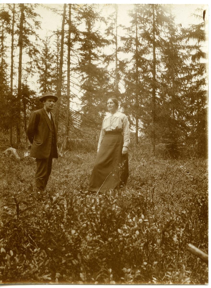 Sigurd og Ragna Islandsmoen i hestvegen ovanfor Islandsmoen, før 1920.