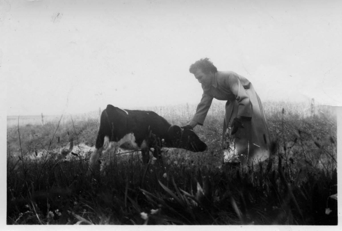 Ruth Kandola og en kalv.
