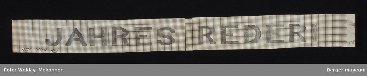 """""""JAHRES REDERI"""". Det samme åklemønsteret som N.A.L. brukte BMF.01435-C-1 tatt i bruk også med denne logoen."""